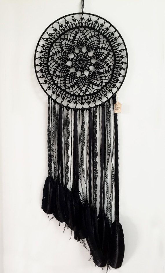 Black Magic BOHO Dreamcatcher ~  Crochet Doily, Lace, Feathers #crochetdoilies