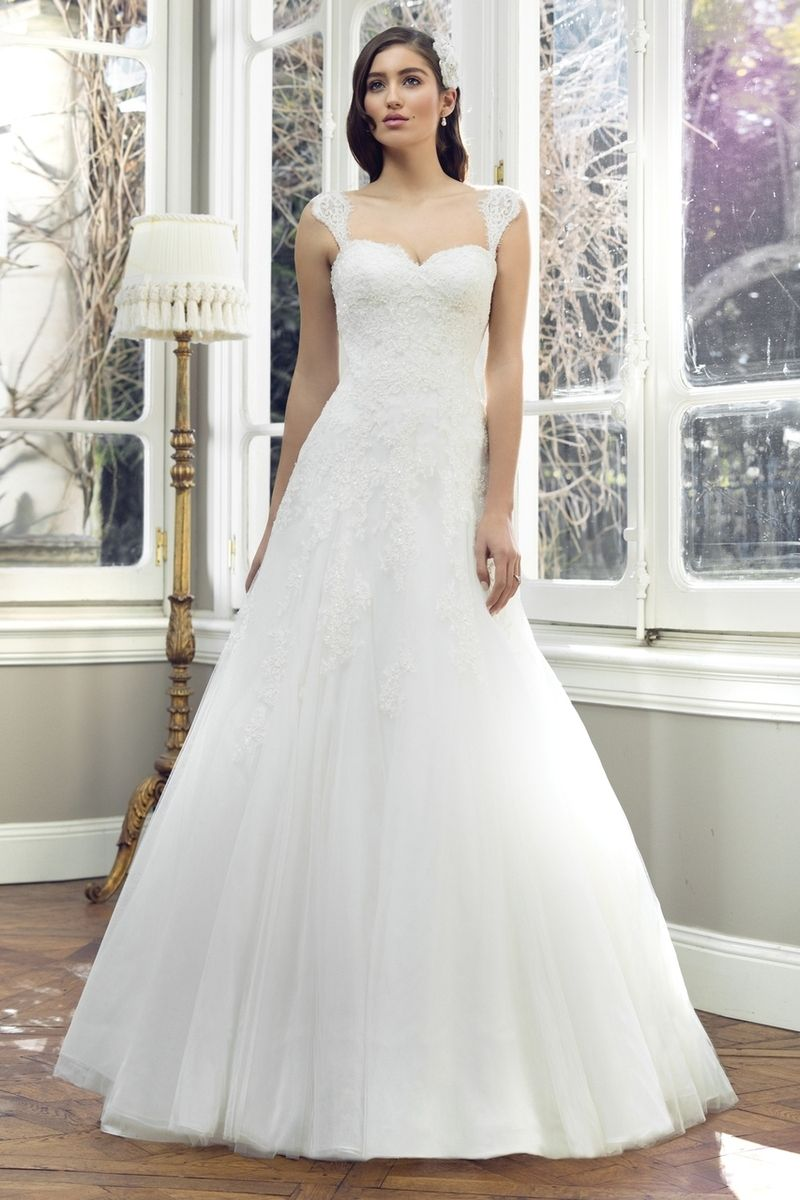 Lace cap sleeve a line wedding dress  Mia Solano  Tulle Aline Wedding Dress  Annika  ML