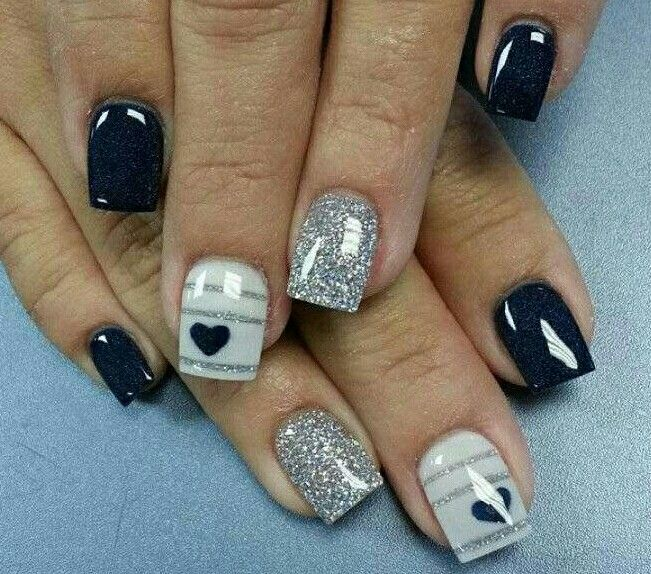 Cute and minimalist glitter nail art design consisting of matte glitter  nails in silver and stripes on top of gray and midnight blue polishes. - Pin By Lisa Jones On Nail Colors & Designs Pinterest Nail