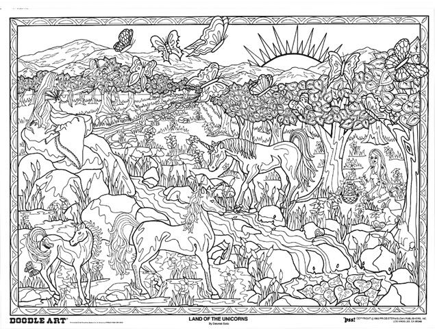 LAND of the UNICORNS: doodle art colouring poster: This was ...