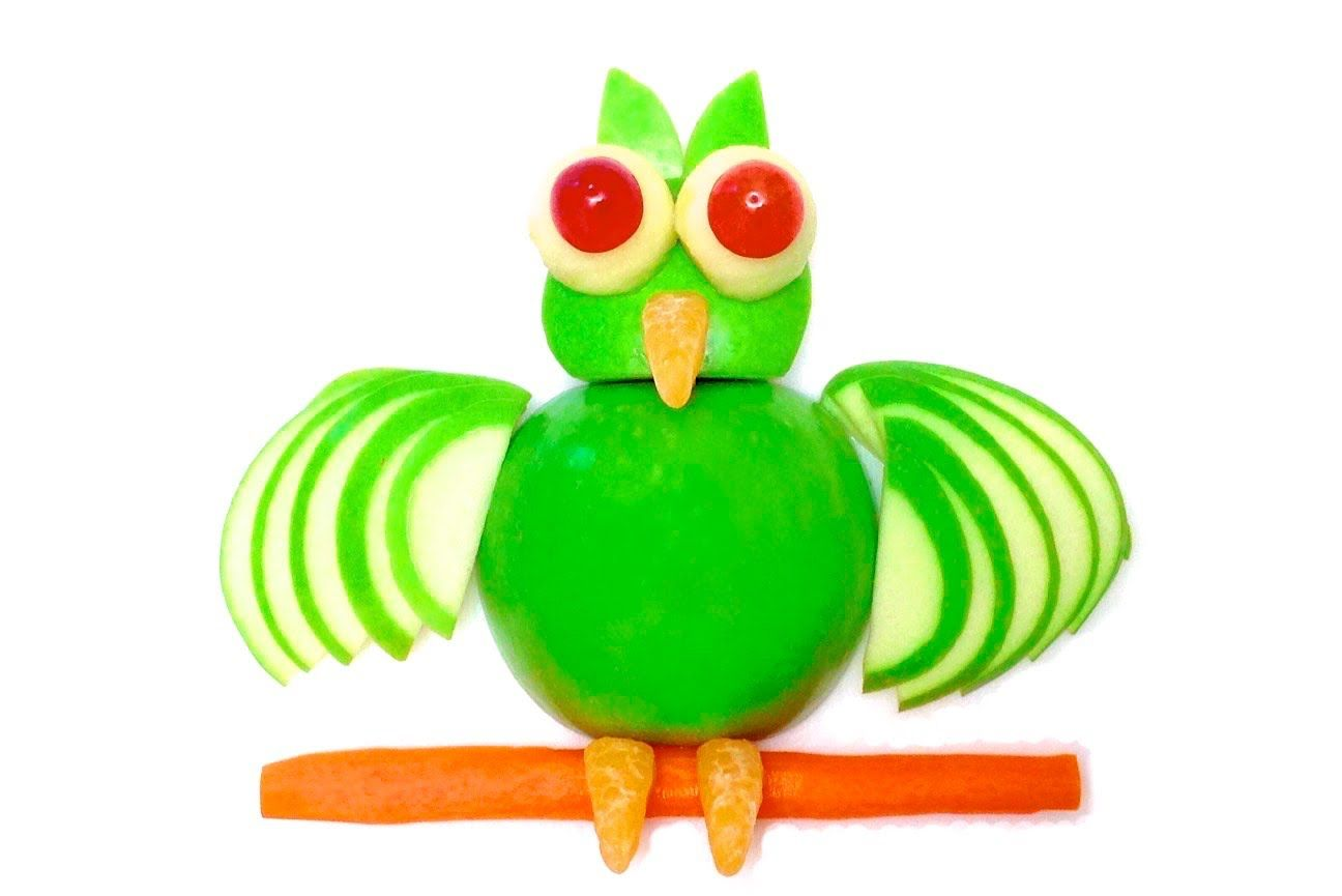 How to make an owl with an apple hd fruit and vegetable carving