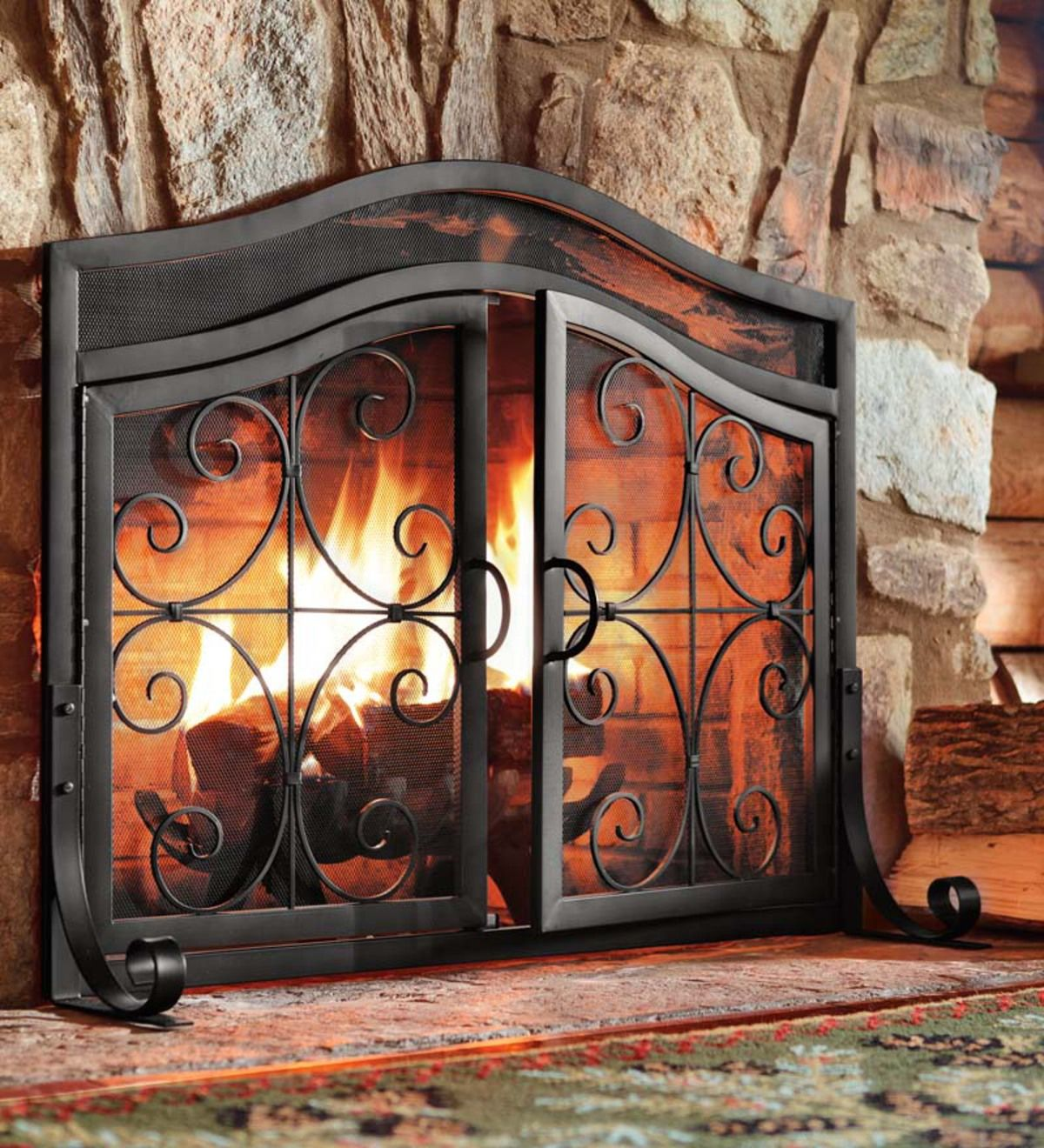 Ornamental Scrollwork In Solid Wrought Iron Sets Our Exclusive Crest Fireplace Screen With Doors Fireplace Screens With Doors Fireplace Doors Fireplace Screens