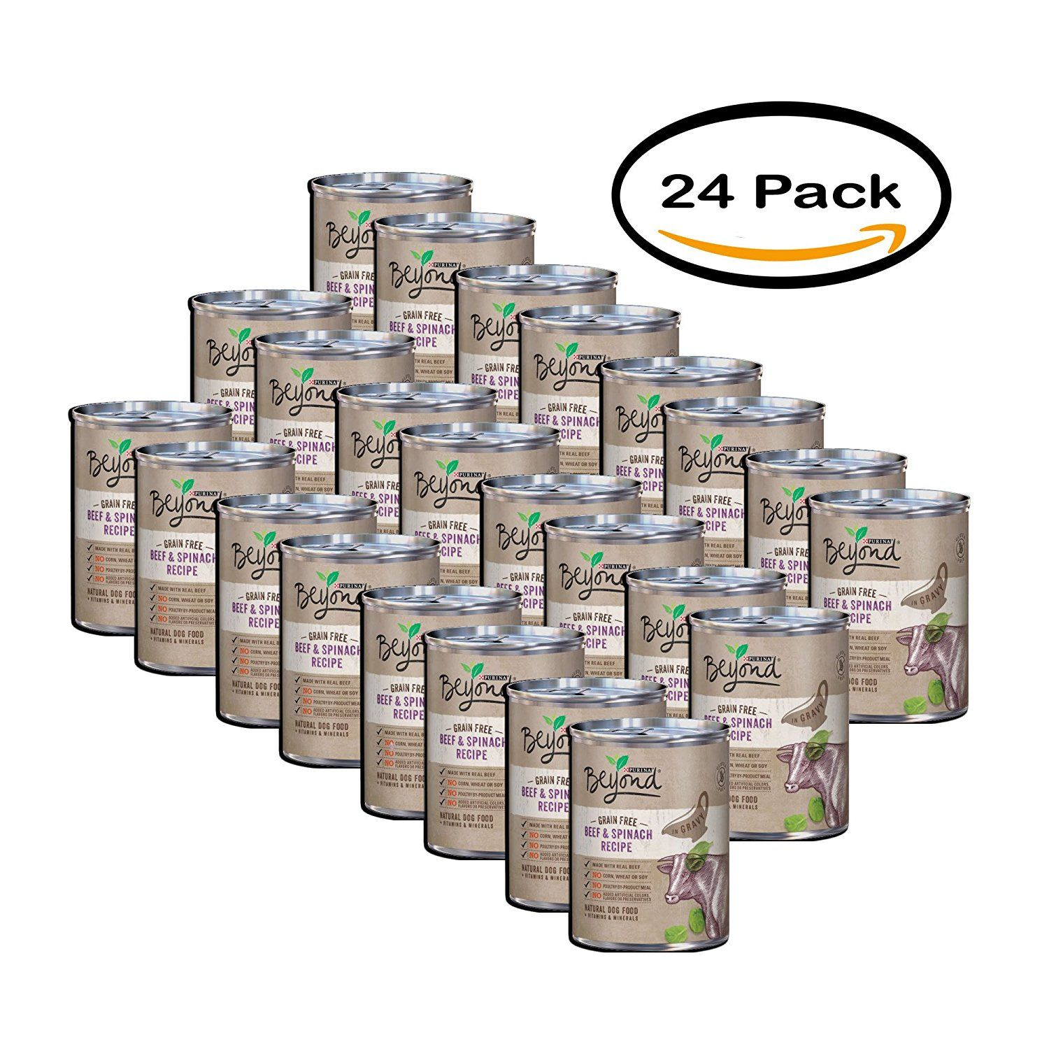 Pack of 24 purina beyond grain free beef and spinach