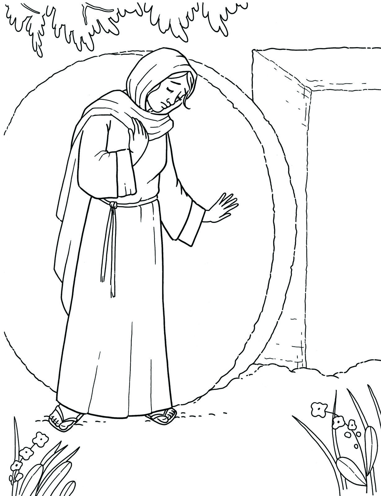 Primary Coloring Page Mary At The Empty Tomb Lds Mormons Easter Ldsprimary Lds Coloring Pages Coloring Pages Saint Coloring
