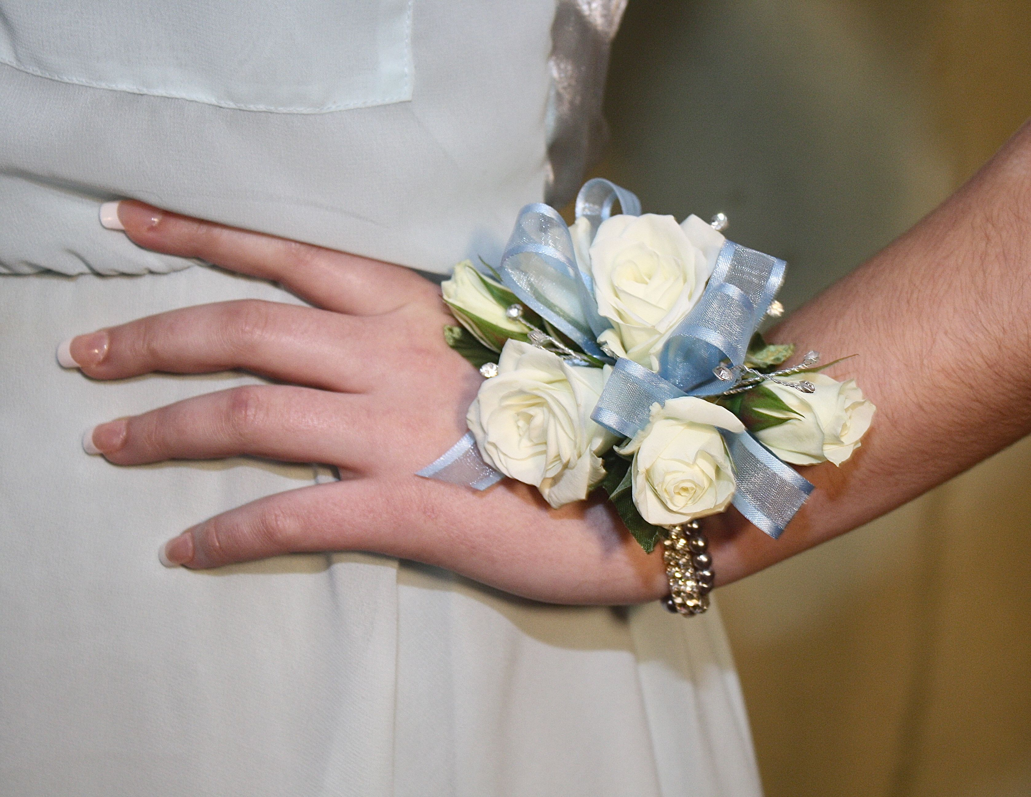 Prom corsages for white dress.