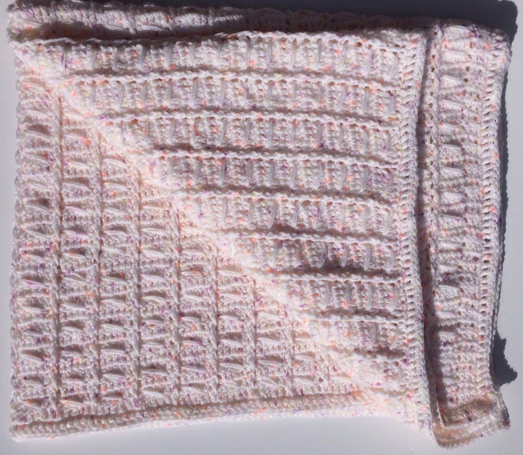 White with Lilac, Peach, Yellow Speckle Vintage Style Cot Blanket for Baby