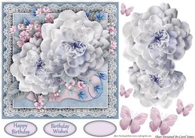 Simplicity 9 on Craftsuprint designed by Carol James - A beautifully simple floral 7 x 7 topper with decoupage pieces and 2 sentiment tags (plus a blank tag)Sentiments include:Birthday WishesHappy Birthday - Now available for download!