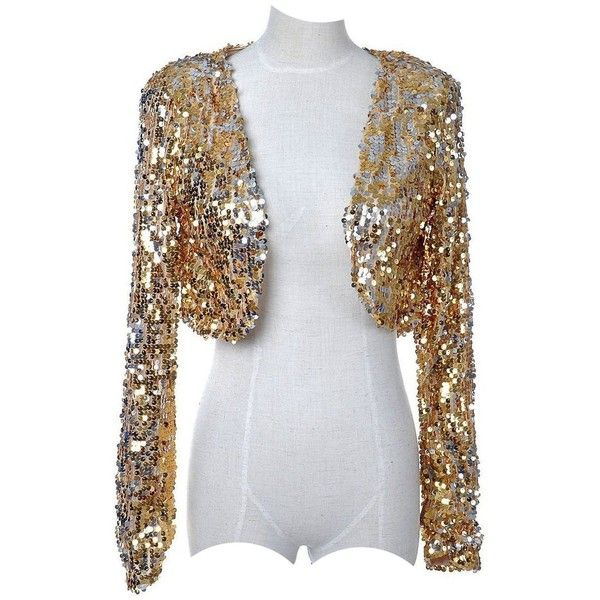 Vikoros Women's S/M Fit Sequins Disco Long Sleeve Bolero Shrug Top ...