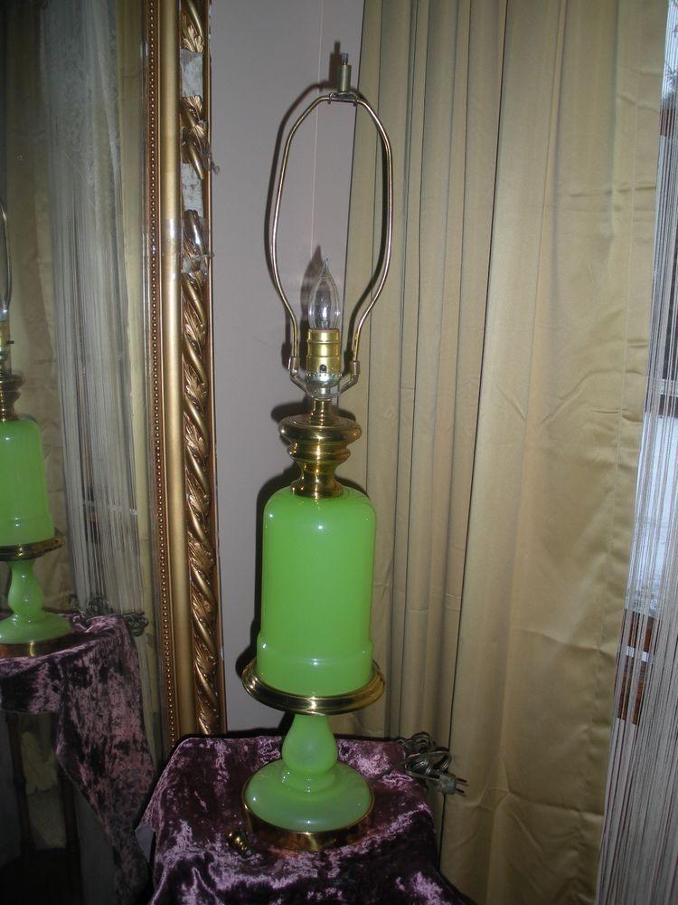 Vintage Jadeite Glass Table Lamp Green Brass Fittings Lamp Table Lamp Glass Table Lamp