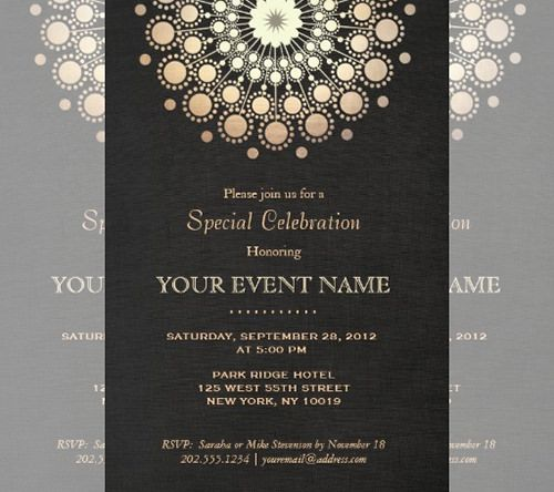 Black and Gold, Bush design Art Deco Ball Invitations - free dinner invitation templates