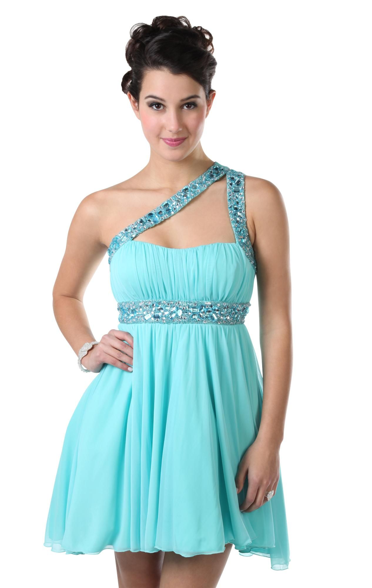 One shoulder iridescent stone short prom dress with high low skirt