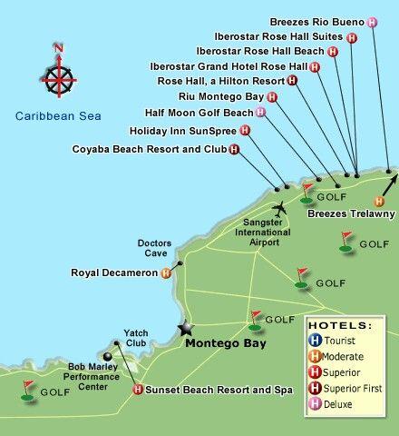 Map Of Jamaica Resorts Montego Bay Jamaica Resort Map .romanticplanet.ca   Been There