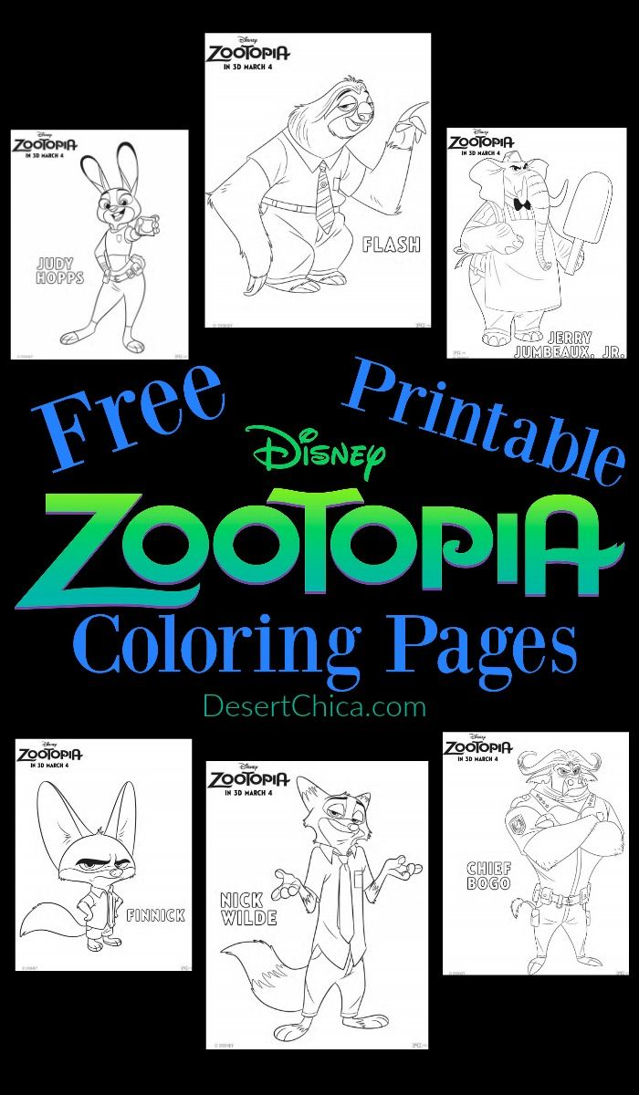 Free printable coloring pages zootopia - Disney Zootopia Coloring Pages