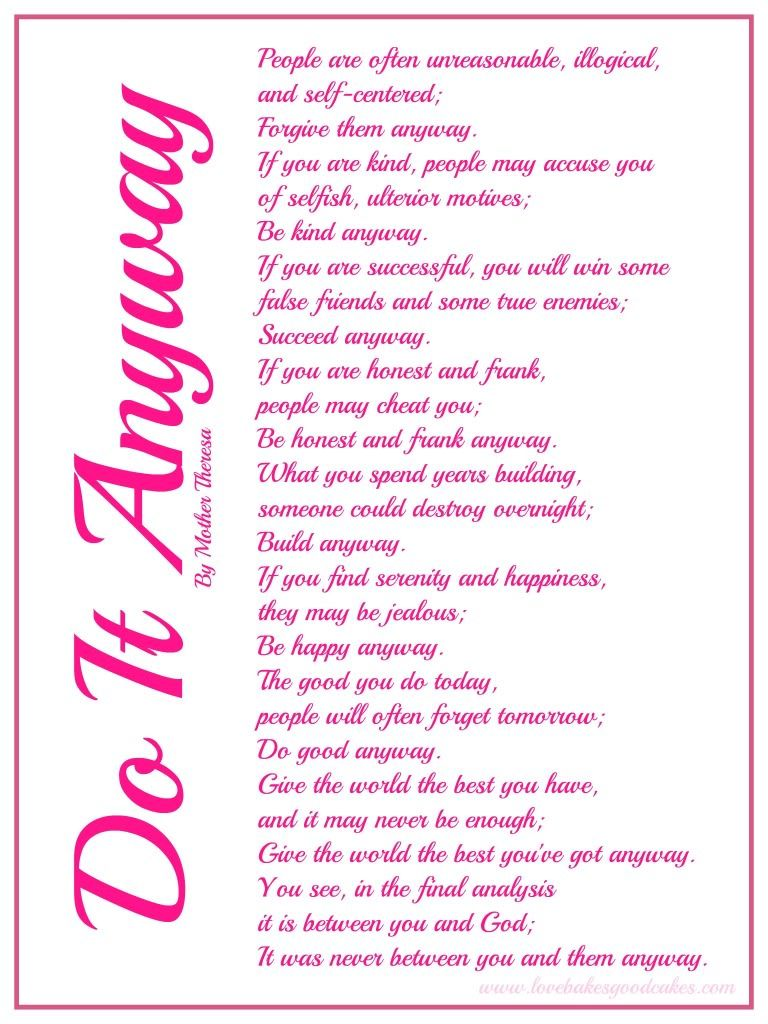 Influential image inside do it anyway poem printable