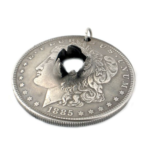 Morgan silver dollar pendant with bullet hole 1885 silver dollar morgan silver dollar pendant with bullet hole mozeypictures Choice Image