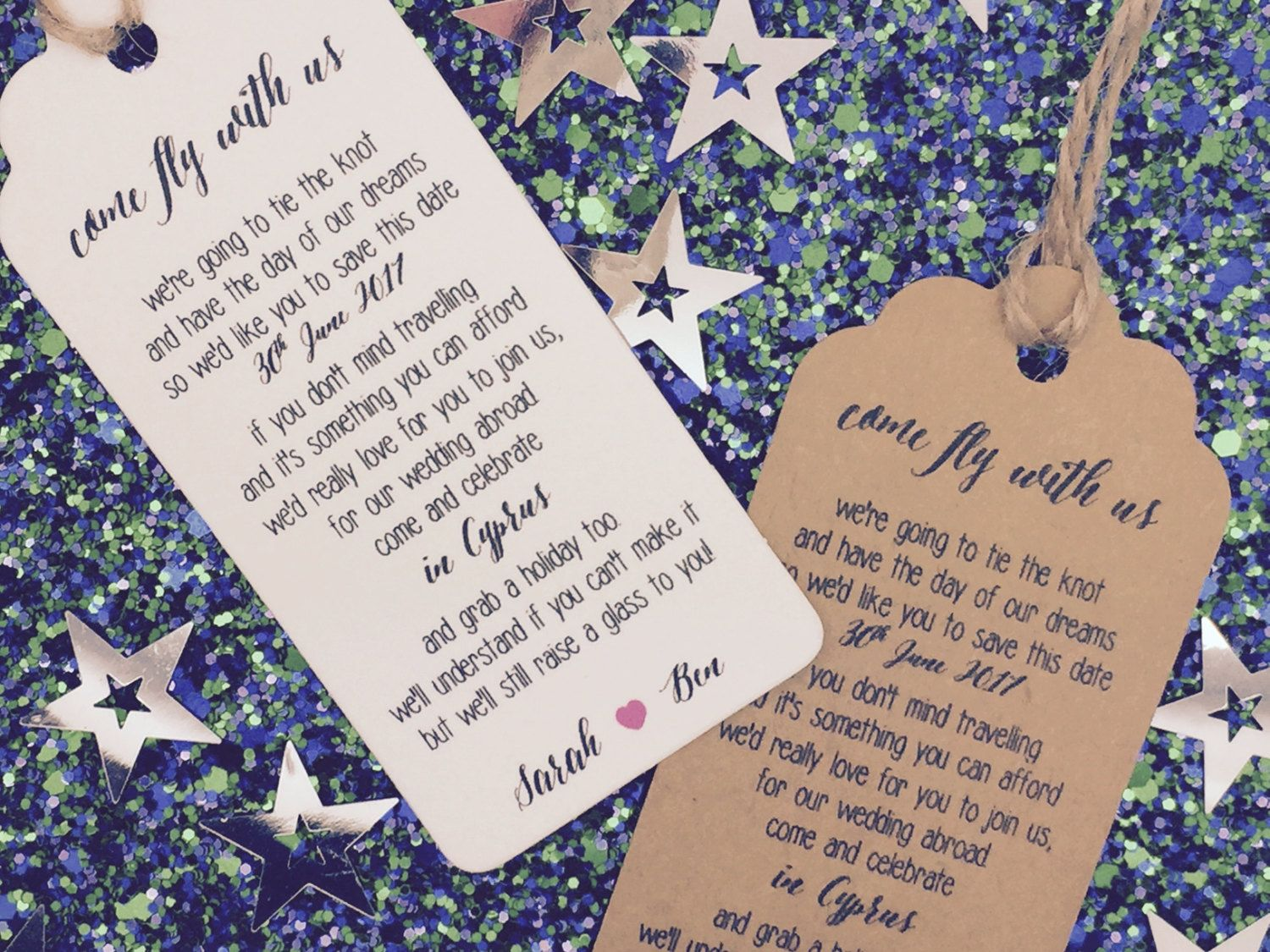 "Wedding Invitation Poem: Personalised ""Come Fly With Us"" Wedding Poem Card Gift Tag"