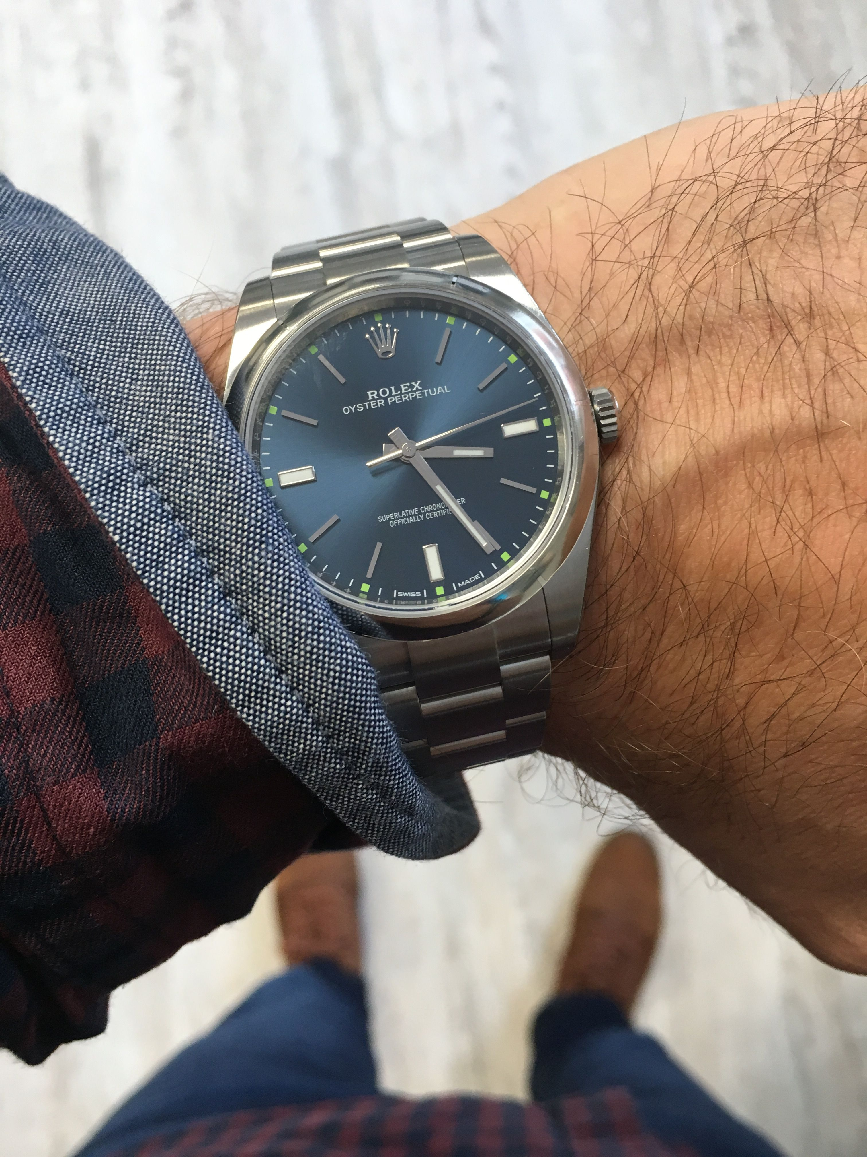 Rolex Oyster Perpetual 39 Blue Baton Dial 114300