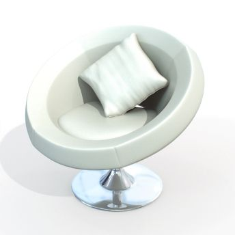 White Circle Chair | 3D Model Of White Leather Modern Round Chair 01 16