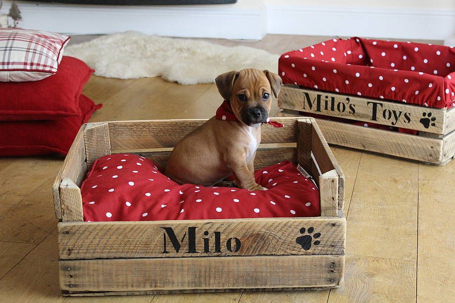 personalised wood crate dog or cat toy box by the comfi