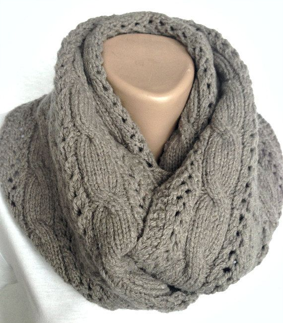 gray infinity scarf knit wool scarf with a pattern knit dark snood ...