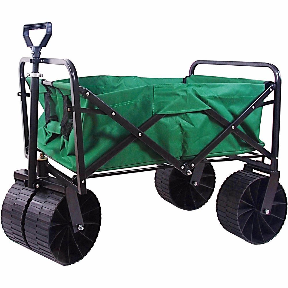 Folding beach wagon up cart for shopping with wheels heavy