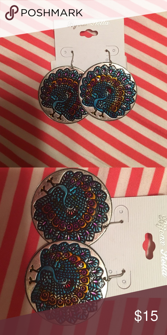 NWT Peacock disk earrings Peacock disk earrings- brand new, never worn.   ✨✨✨offers are welcome✨✨✨ Jewelry Earrings