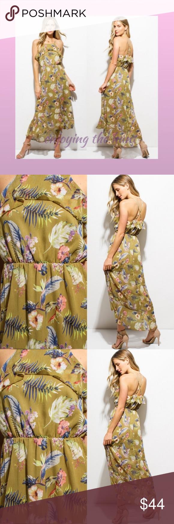Floral ruffled maxi dress homecoming boutique my posh closet