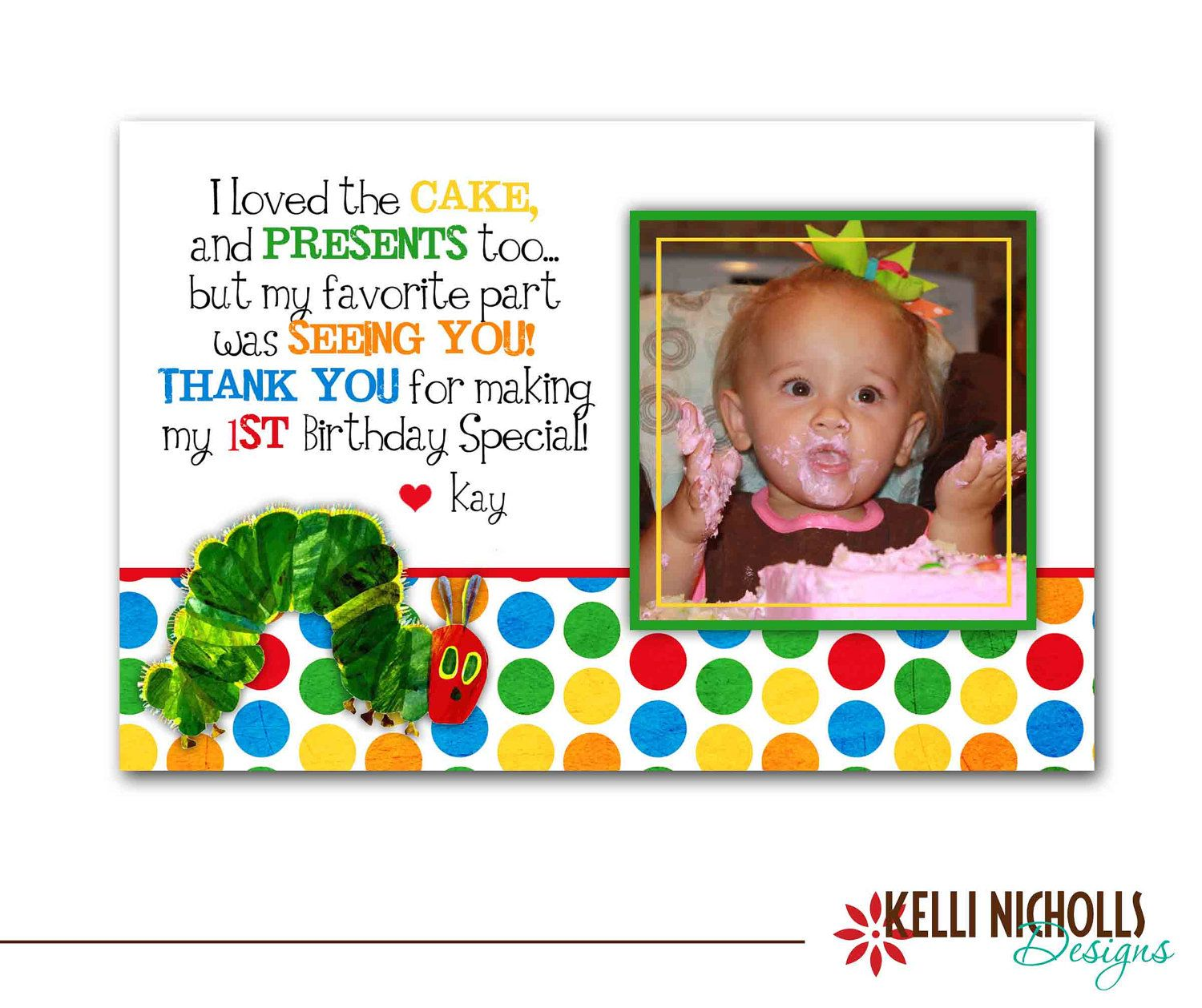 Hungry Caterpillar Photo Birthday Thank You Card – Hungry Caterpillar Birthday Card