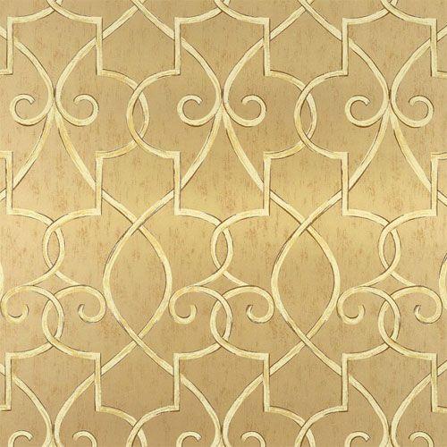 hampton lattice wallpaper in metallic gold | metallic gold