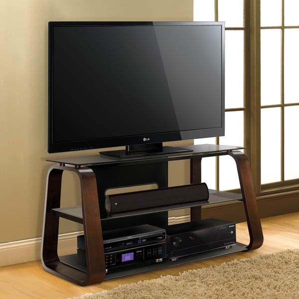 Bello Curved Wood 55 Tv Stand With Tinted Glass Espresso Cw349