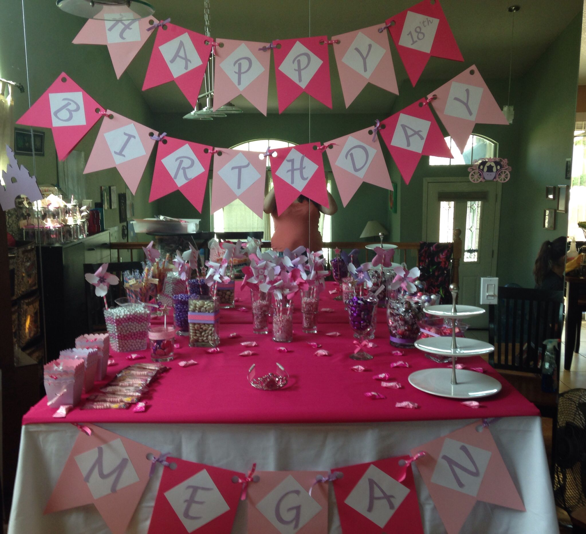 candy buffet and cake table | megan's 18'th birthday party