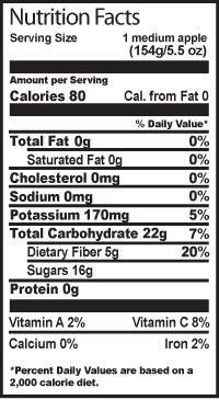 1 Medium Apple Nutrition Facts | Fruit Facts | Pinterest | Health ...