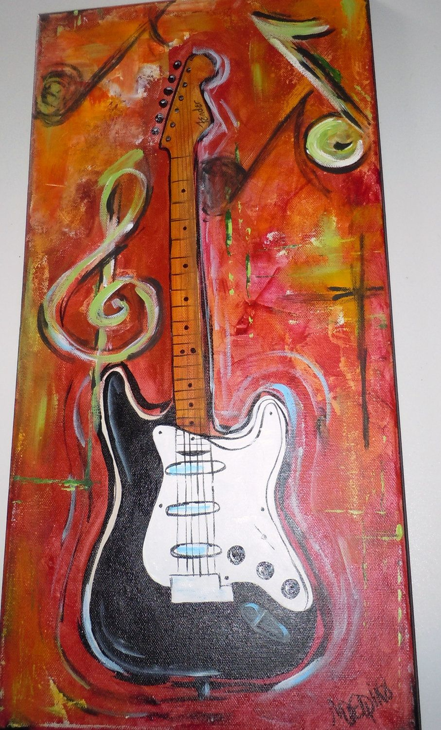 electric guitar painting fender original10 x 20 inch bold color canvas etsy to. Black Bedroom Furniture Sets. Home Design Ideas