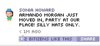 Funny BitBook post in Tiny Tower for iOS! Tower, App