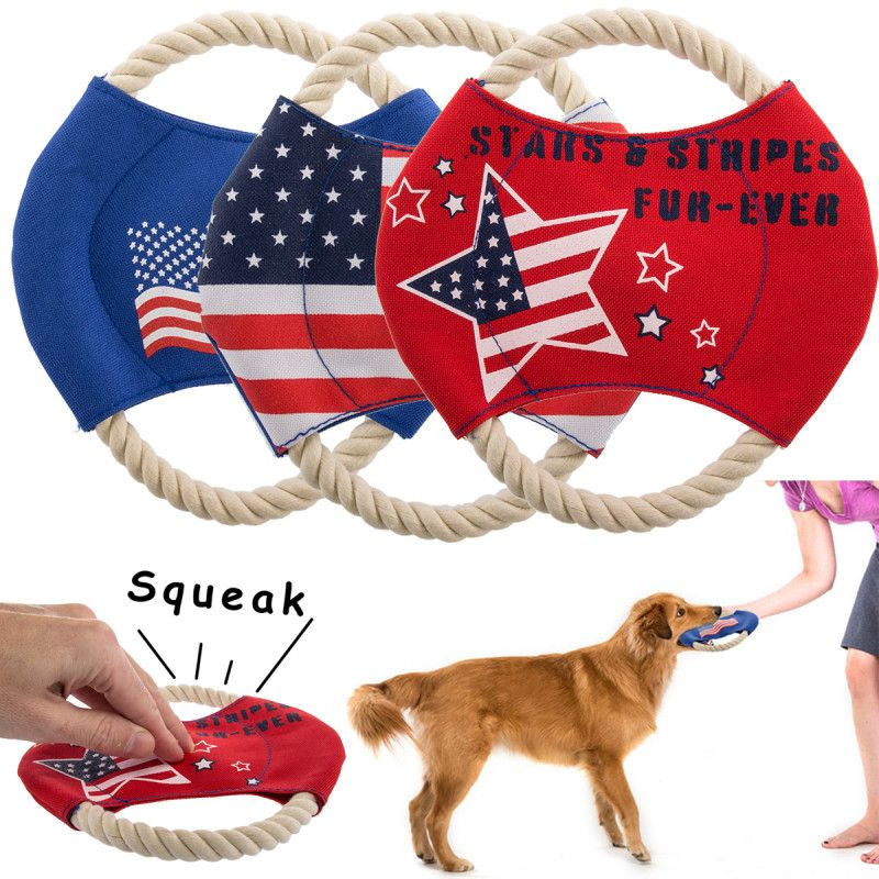 Set Of 3 Durable Rope Canvas Dog Frisbee Toys With Squeakers Dog
