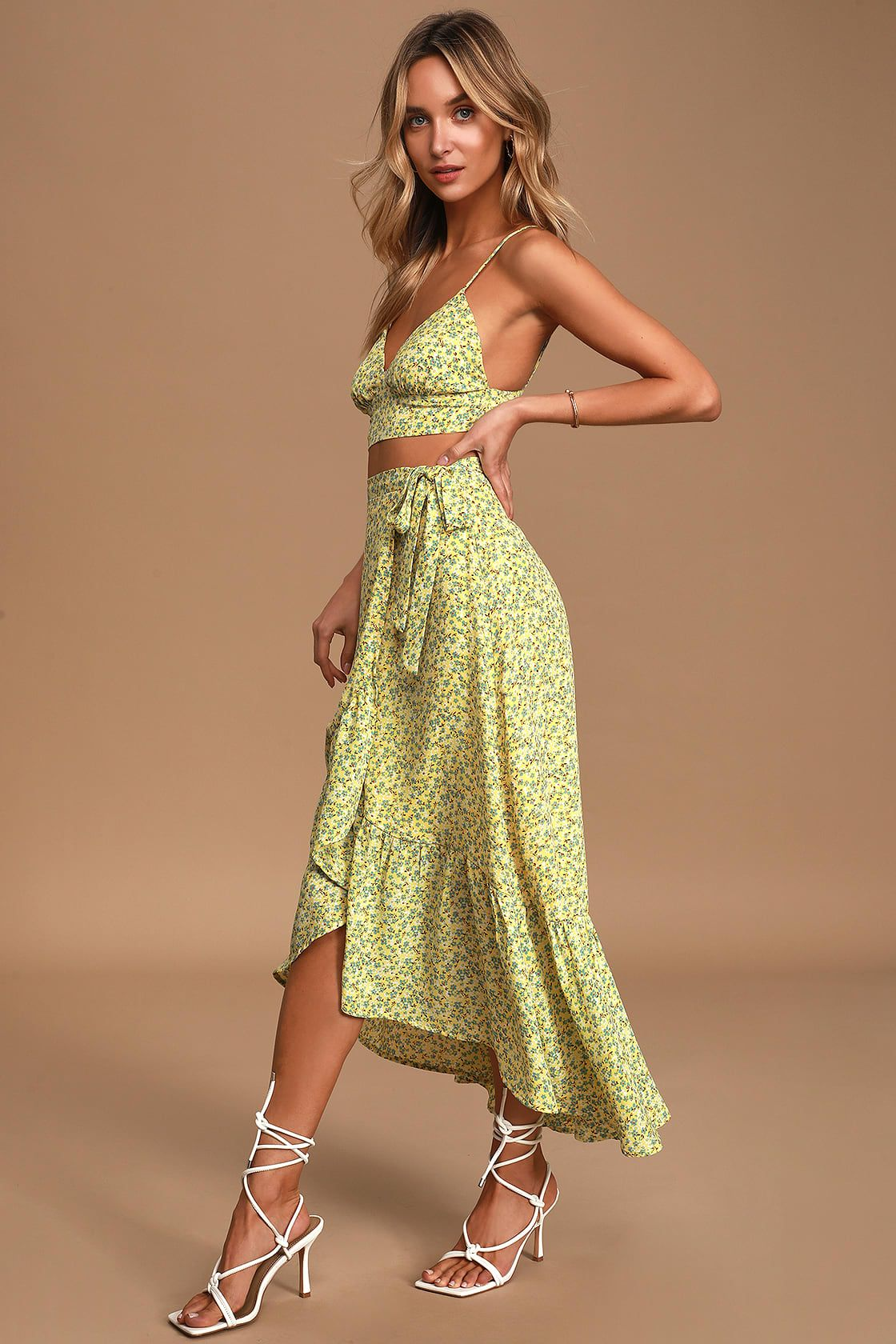 Believe In Me Yellow Floral Print Two Piece Midi Dress Floral Dress Summer Dresses Piece Dress [ 1680 x 1120 Pixel ]