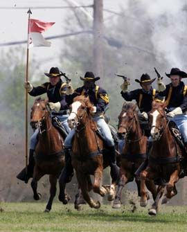 1st cavalry division horse detachment reenacts a traditional cavalry