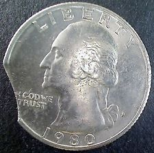 1980 CLIPPED ERROR Washington Quarter Coin - Clip Planchet