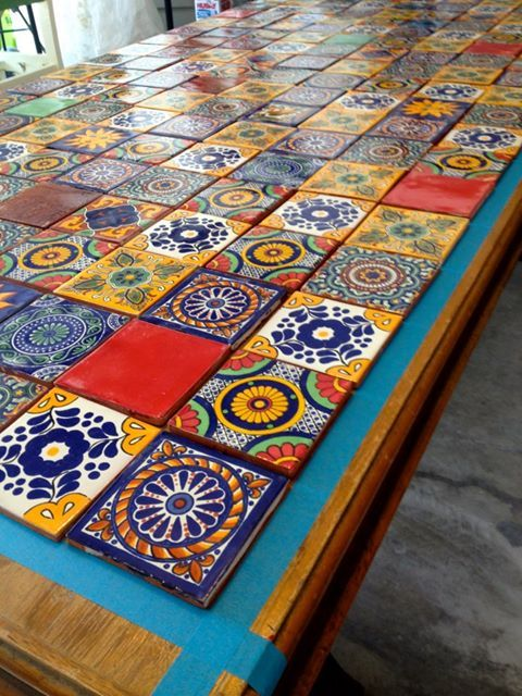 Mexican tiled table azulejos pinterest mexicans mosaics and patio table - Basics mosaic tiles patios ...
