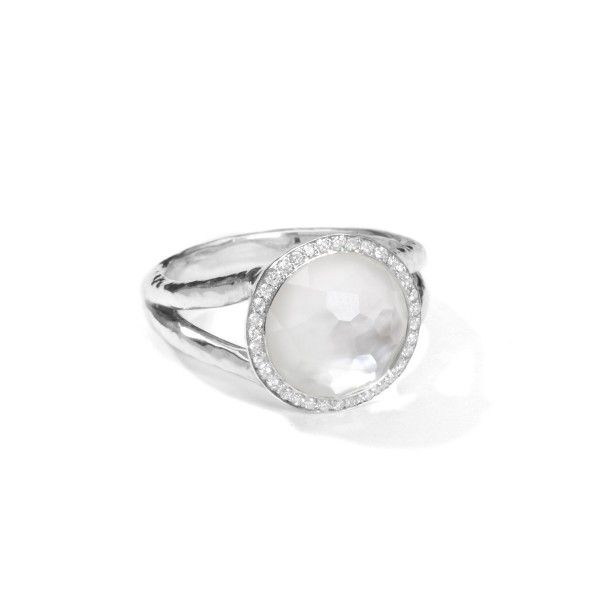 Ippolita Stella Lollipop Ring in Mother-of-Pearl Doublet with Diamonds, 0.23