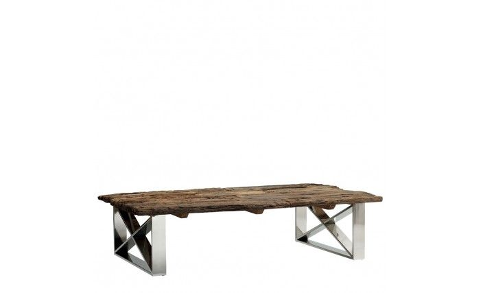 Reclaimed Rough Wood Table With Metal Criss Corss Leg. Occa