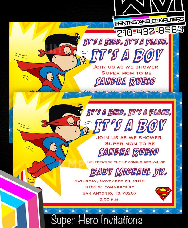 Delightful Superman Baby Shower   Birthday Invitations