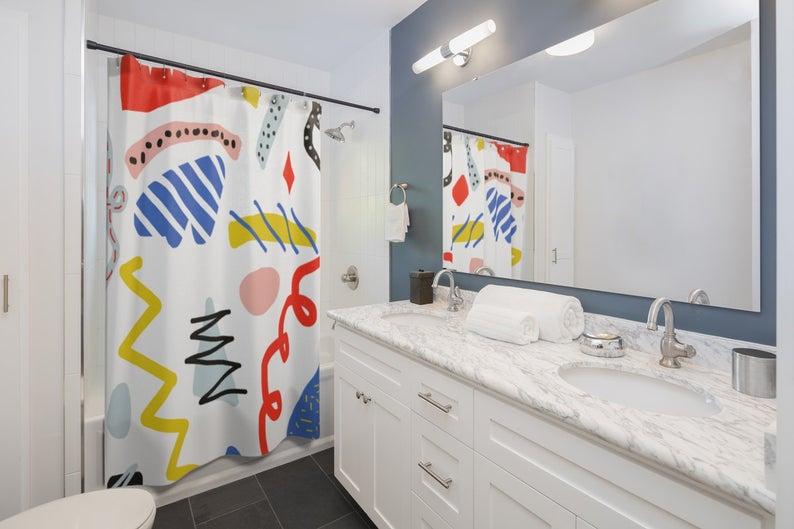 Fun Shower Curtain Crazy Shower Curtain Memphis Style Etsy Cool Shower Curtains Kid Bathroom Decor Kids Shower Curtain