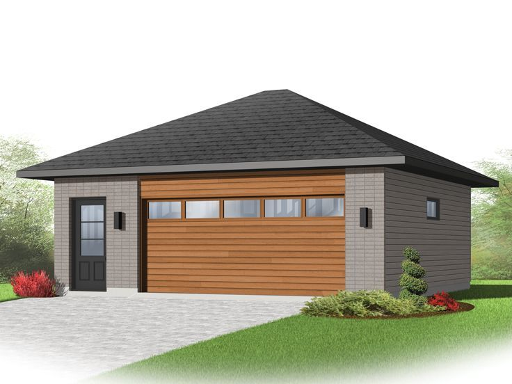 028g 0055 modern 2 car garage plan with hip roof modern for Hip roof garage plans
