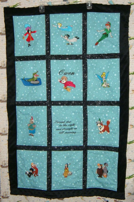 Peter Pan Baby Blanket.Custom 12 Image Embroidered Peter Pan Baby Quilt Other