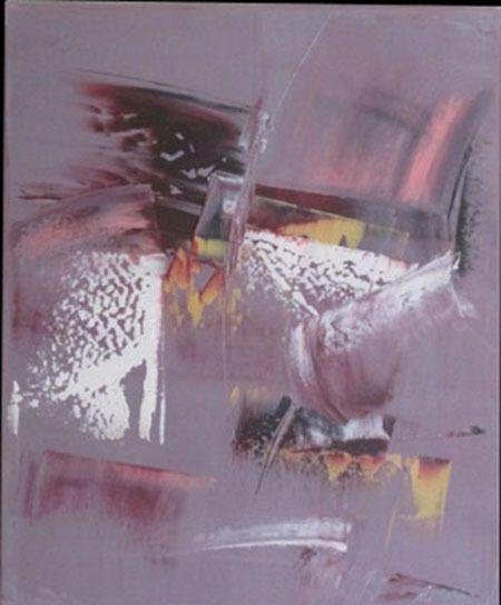 Peinture moderne acrylique colorée gris rose blanc bordeaux jaune sur chassis toile coton 38 x 46 cm .. : Peintures par stephanie-menard