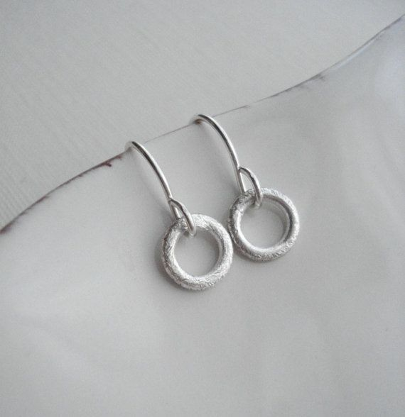 Brushed Circle Earrings In Sterling Silver by AnechkasJewelry, $17.50