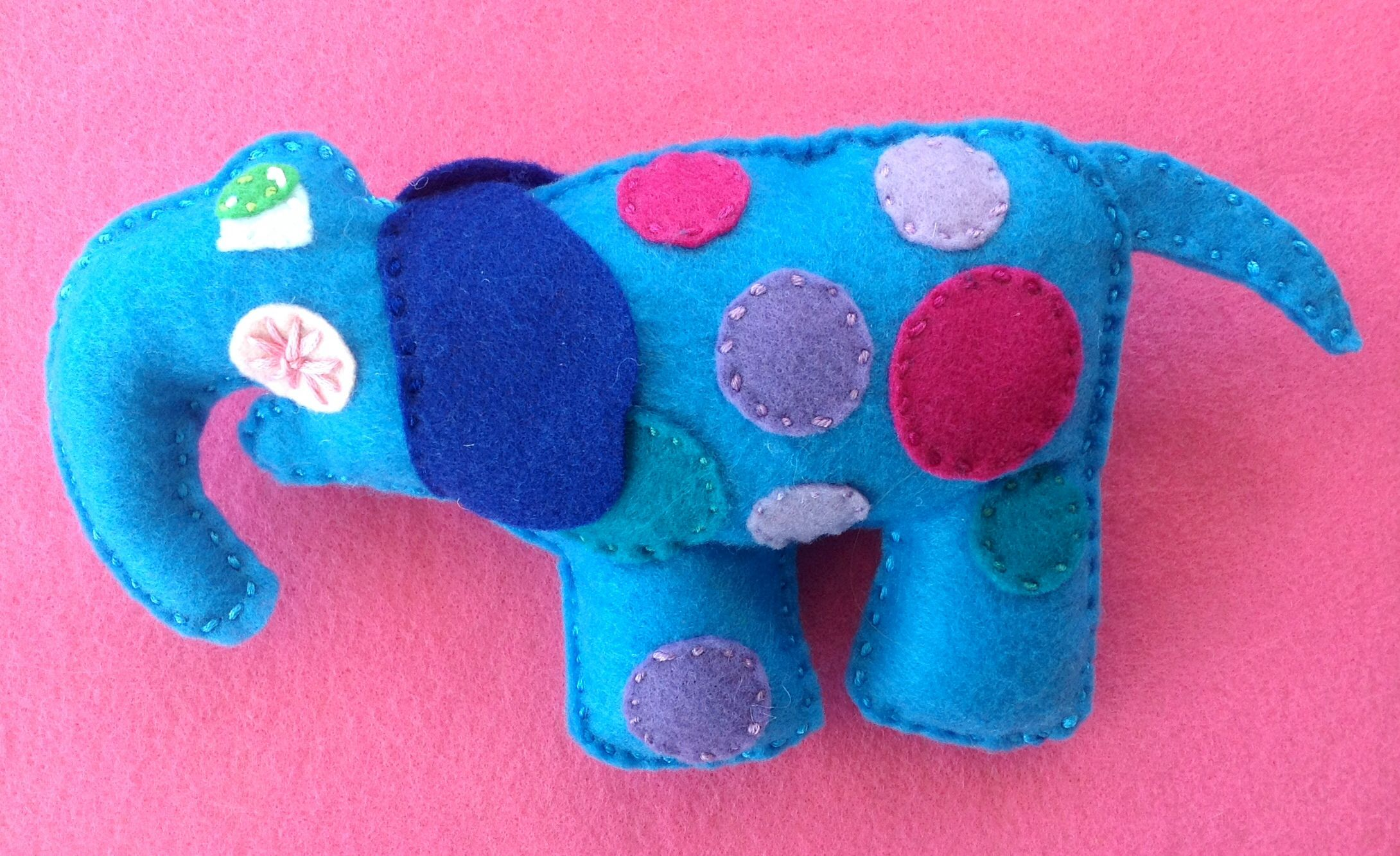 Elephant plush baby rattle by Ecotrinkets - Amy Monthei