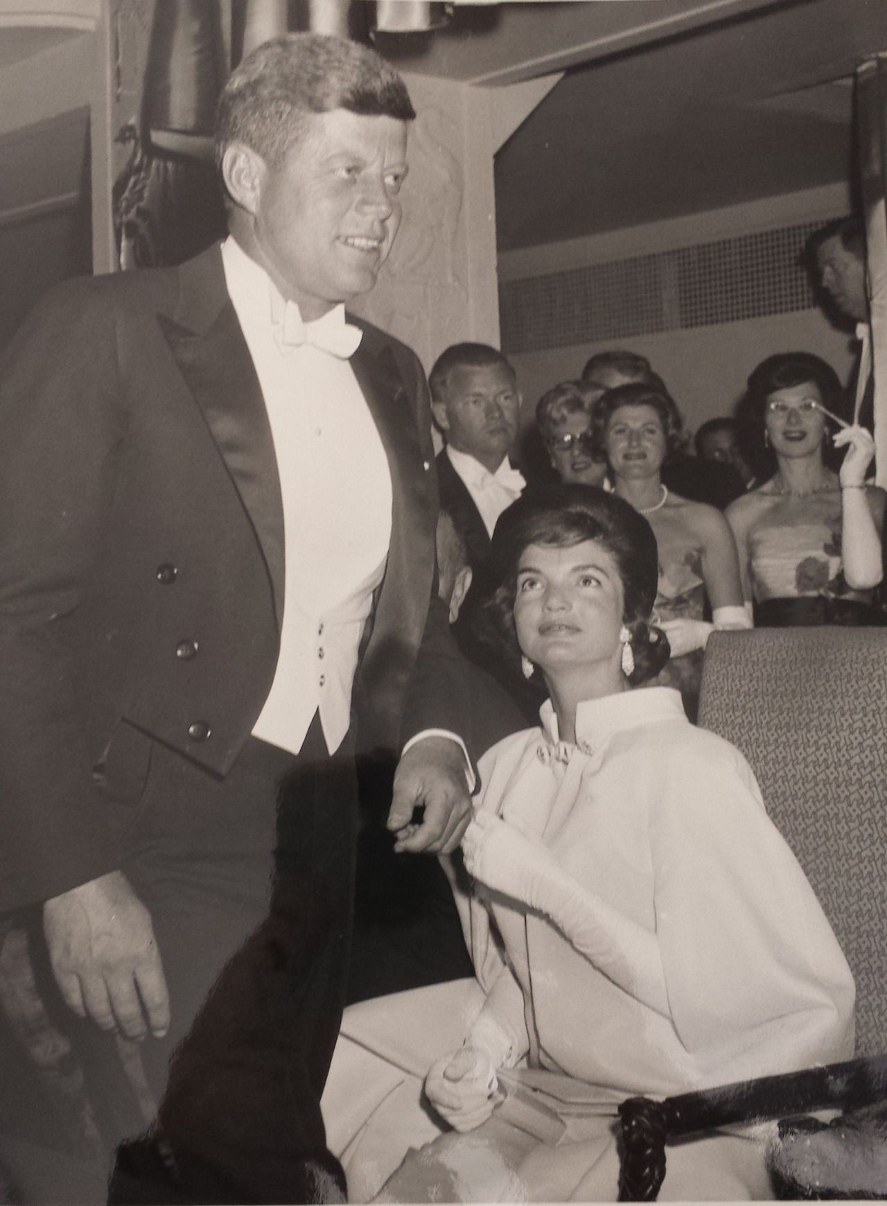 "jackandjackie: ""The newly inaugurated president takes his seat at the Inaugural ball, under the gaze of his proud wife ~ Jan. 20th, 1961 ♥ """