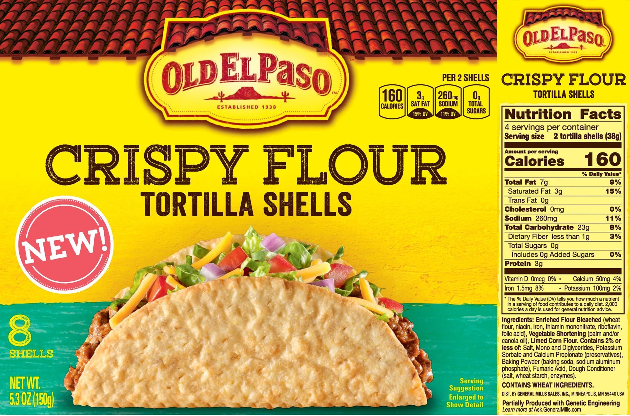 The Updated Nutrition Facts Label As Seen On Old El Paso Crispy Flour Tortilla Shells Image Courtesy Of Label Insigh Nutrition Facts Label Packaged Food Food